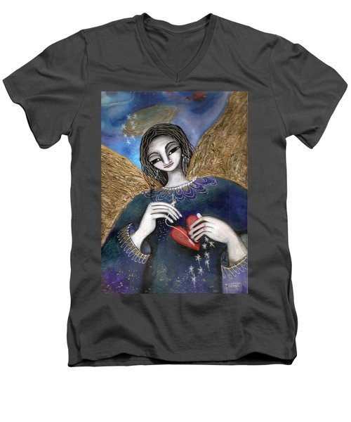 Men's V-Neck T-Shirt featuring the mixed media Mender Of Hearts Angel by Prerna Poojara