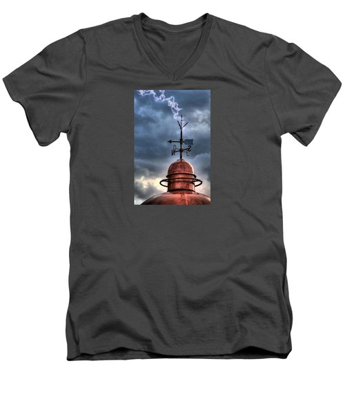 Menorca Copper Lighthouse Dome With Lightning Rod Under A Bluish And Stormy Sky And Lightning Effect Men's V-Neck T-Shirt by Pedro Cardona