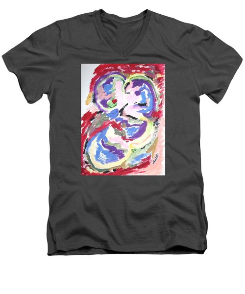 Men's V-Neck T-Shirt featuring the painting Mental Preoccupation by Esther Newman-Cohen