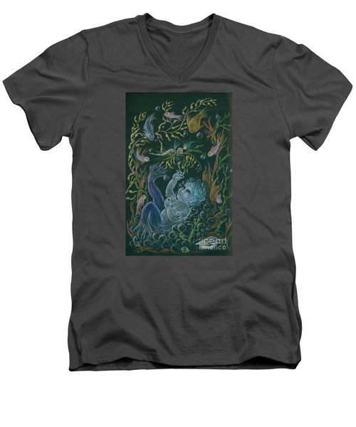 Men's V-Neck T-Shirt featuring the drawing Merbaby Blue by Dawn Fairies