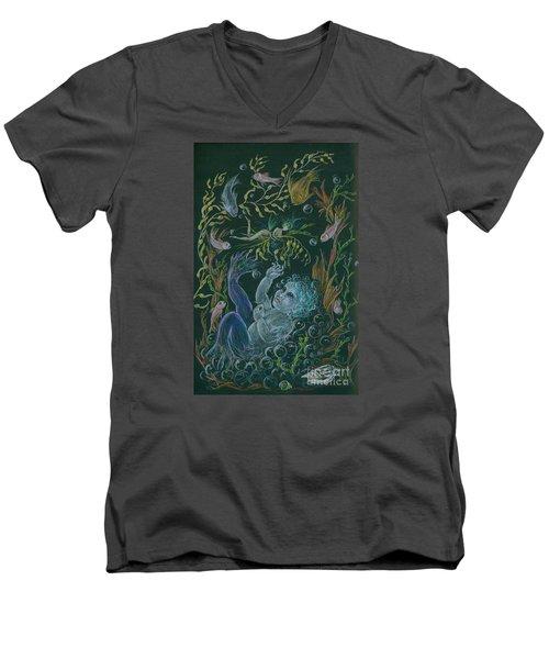 Merbaby Blue Men's V-Neck T-Shirt