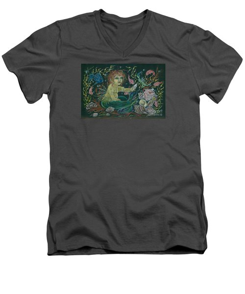 Men's V-Neck T-Shirt featuring the drawing Merbaby Golden Green by Dawn Fairies
