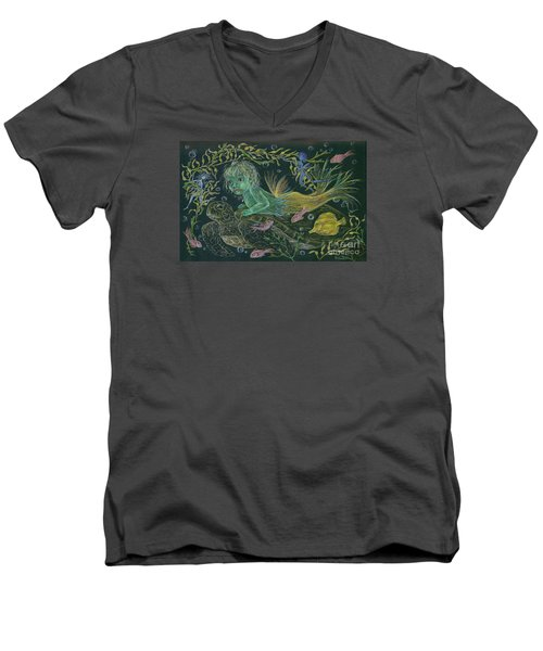 Men's V-Neck T-Shirt featuring the drawing Merbaby Green by Dawn Fairies