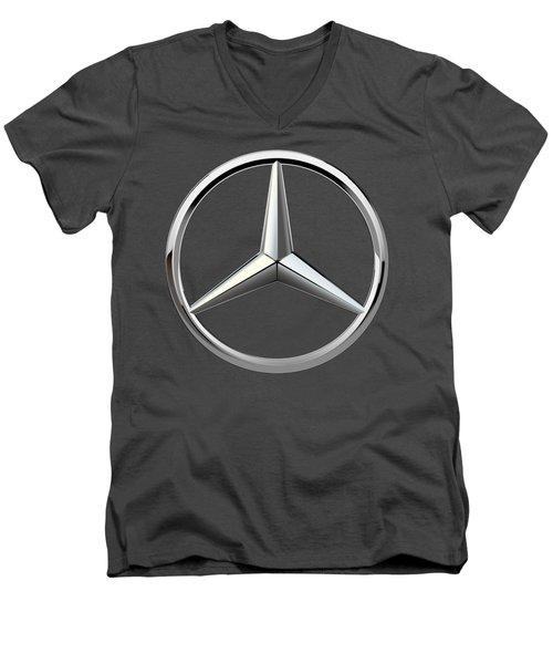 Mercedes-benz - 3d Badge On Red Men's V-Neck T-Shirt