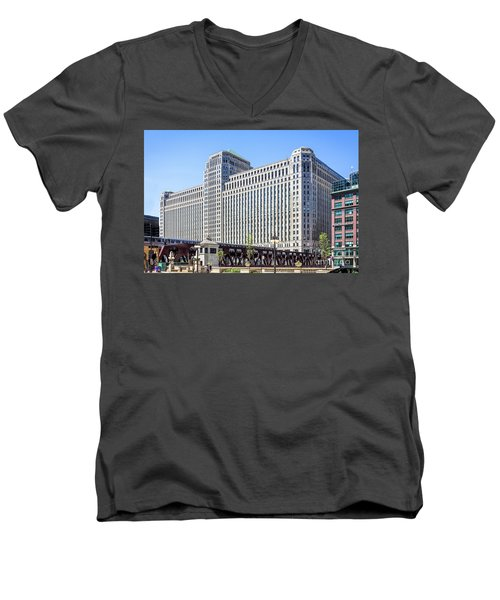 Merchandise Mart Overlooking The L Men's V-Neck T-Shirt