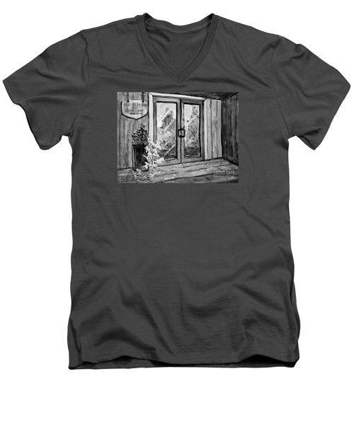 Men's V-Neck T-Shirt featuring the painting Mercier Orchard's Cider In Bw by Gretchen Allen