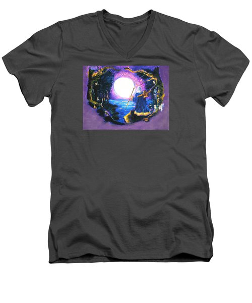 Men's V-Neck T-Shirt featuring the painting Merlin's Moon by Seth Weaver