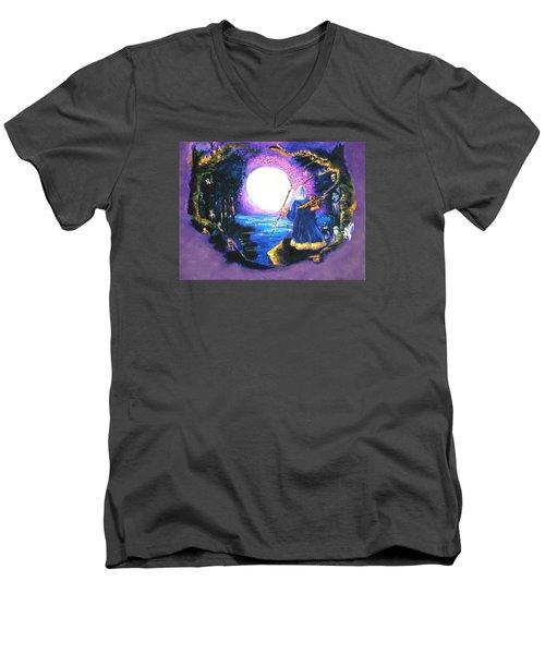 Merlin's Moon Men's V-Neck T-Shirt by Seth Weaver