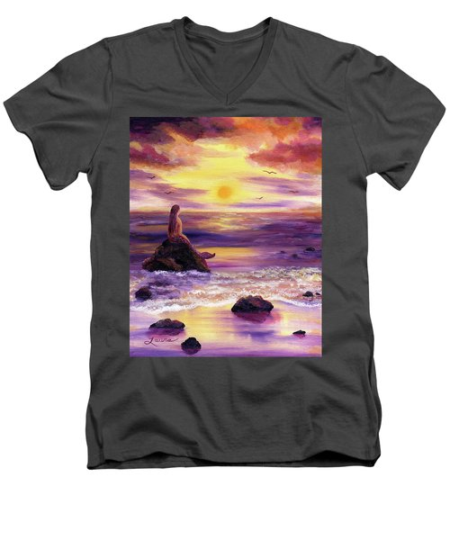 Mermaid In Purple Sunset Men's V-Neck T-Shirt by Laura Iverson