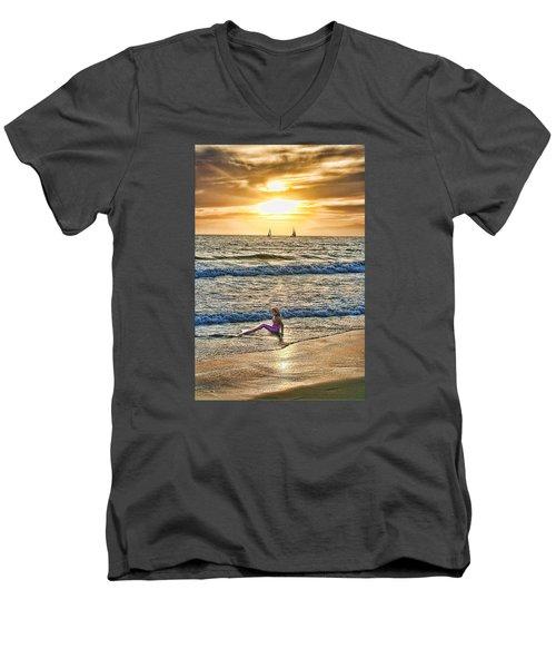 Mermaid Of Venice Men's V-Neck T-Shirt by Michael Cleere