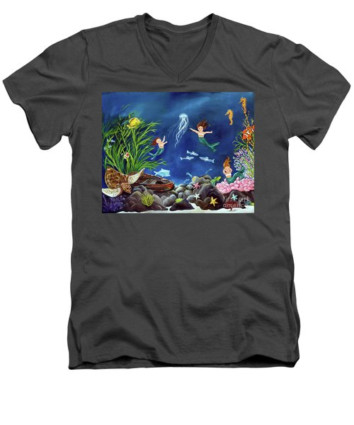 Men's V-Neck T-Shirt featuring the painting Mermaid Recess by Carol Sweetwood