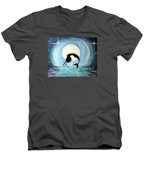 Men's V-Neck T-Shirt featuring the painting Mermaid by Tom Riggs