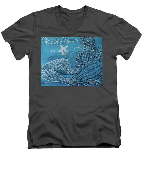 Mermaid- Wish Upon A Starfish Men's V-Neck T-Shirt by Megan Cohen