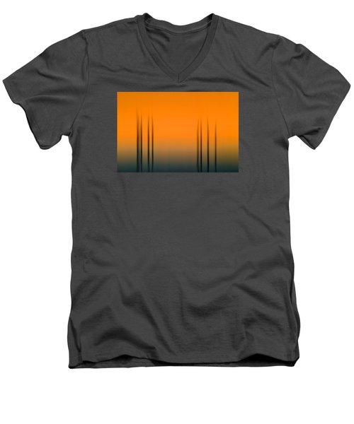 Merritt Island Sunset Digital Abstracts Motion Blur  Men's V-Neck T-Shirt by Rich Franco