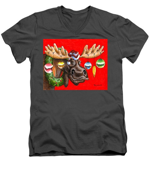Merry Chris Moose Men's V-Neck T-Shirt