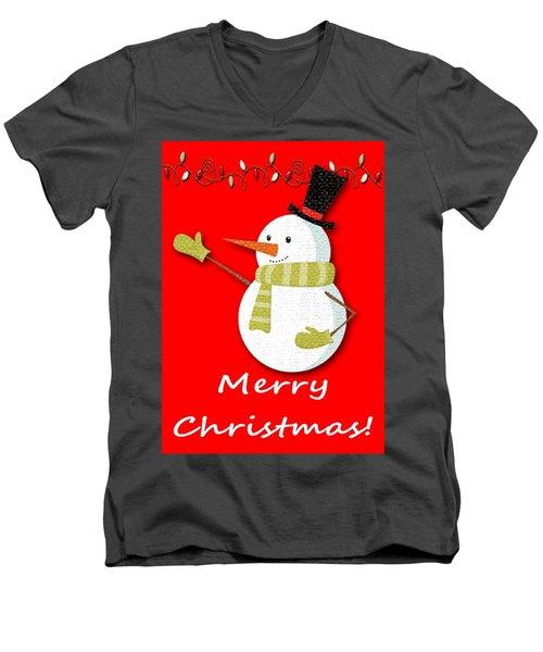 Merry Christmas Big Snow Man On Red Men's V-Neck T-Shirt
