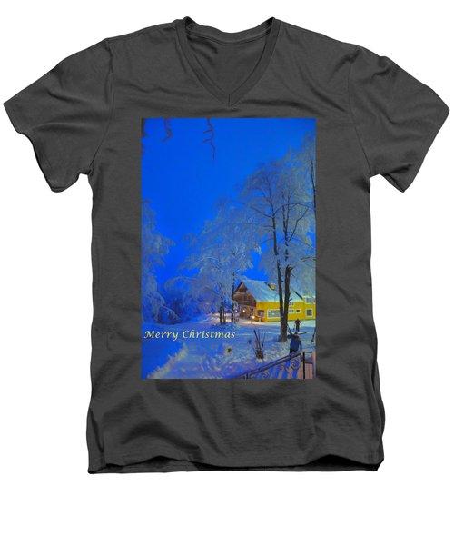 Merry Christmas Cabin Digital Art Men's V-Neck T-Shirt