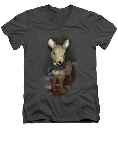 Merry Christmas Deer Men's V-Neck T-Shirt by Judy Hall-Folde