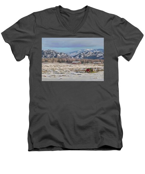 Merry Christmas From Wyoming Men's V-Neck T-Shirt by Dawn Senior-Trask