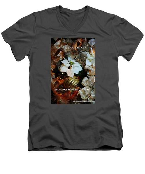 Merry Christmas  Happy New Year Hawaiian Men's V-Neck T-Shirt by Craig Wood