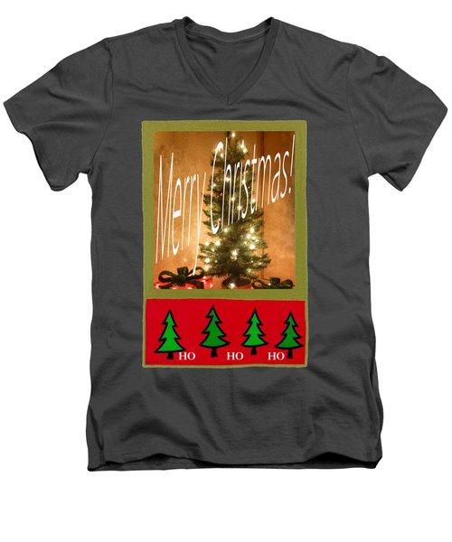 Merry Christmas Hohoho Men's V-Neck T-Shirt by Barbie Corbett-Newmin