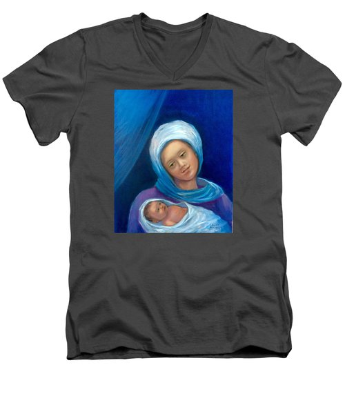 Men's V-Neck T-Shirt featuring the painting Merry Christmas by Laila Awad Jamaleldin