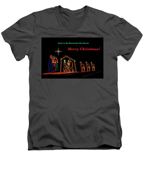 Merry Christmas Men's V-Neck T-Shirt by Penny Lisowski
