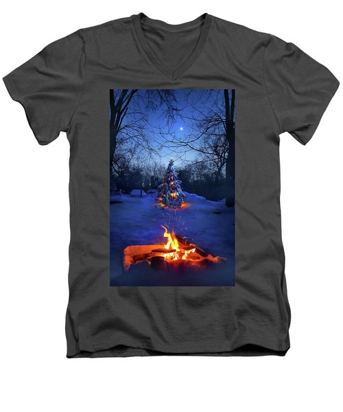 Men's V-Neck T-Shirt featuring the photograph Merry Christmas by Phil Koch