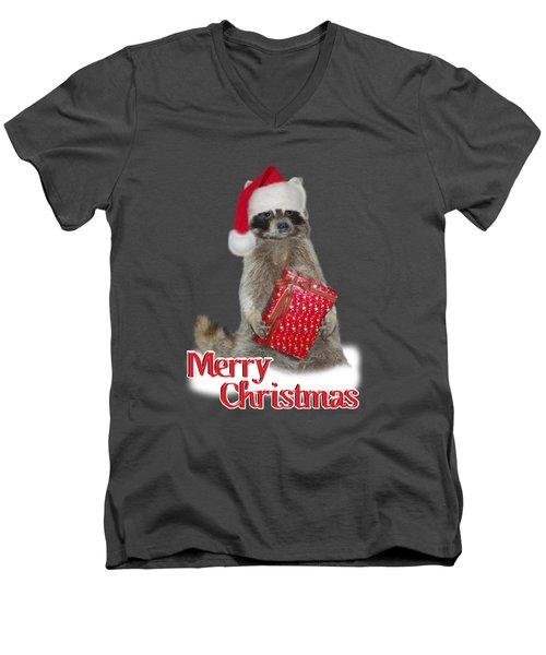 Merry Christmas -  Raccoon Men's V-Neck T-Shirt by Gravityx9 Designs