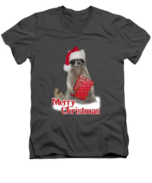 Merry Christmas -  Raccoon Men's V-Neck T-Shirt