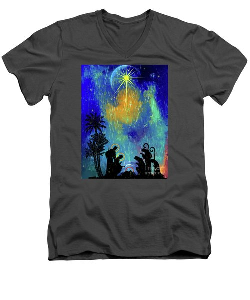 Men's V-Neck T-Shirt featuring the painting  Merry Christmas To All. by Andrzej Szczerski