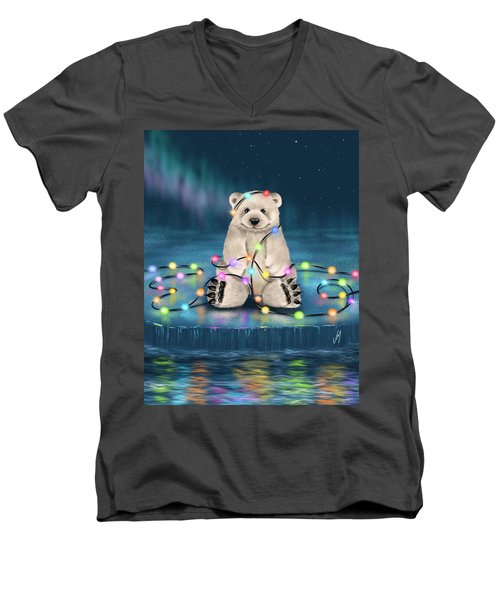 Men's V-Neck T-Shirt featuring the painting Merry Christmas  by Veronica Minozzi