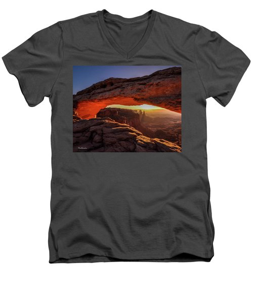 Men's V-Neck T-Shirt featuring the photograph Mesa Arch At Sunrise 1, Canyonlands National Park, Utah by Tim Kathka