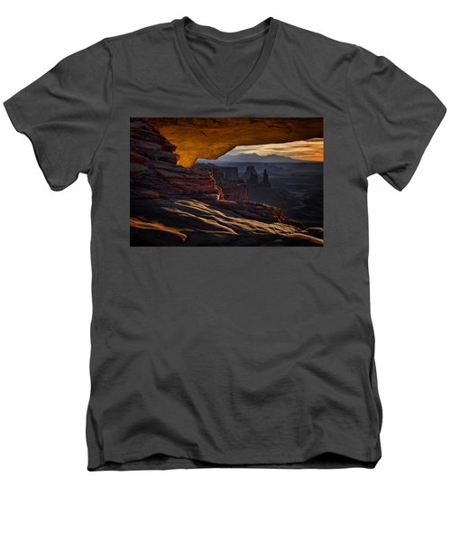 Men's V-Neck T-Shirt featuring the photograph Mesa Arch Glow by Jaki Miller