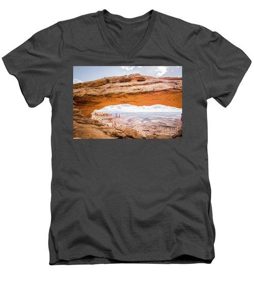 Mesa Arch Sunrise Men's V-Neck T-Shirt by JR Photography