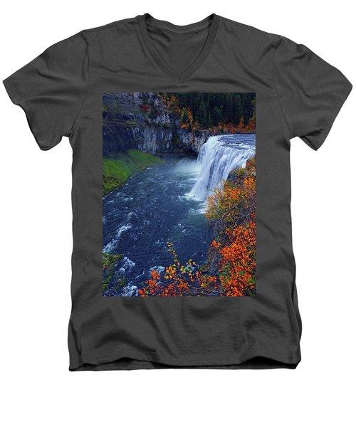 Mesa Falls In The Fall Men's V-Neck T-Shirt