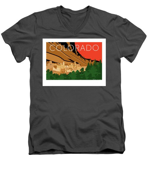 Mesa Verde Orange Men's V-Neck T-Shirt