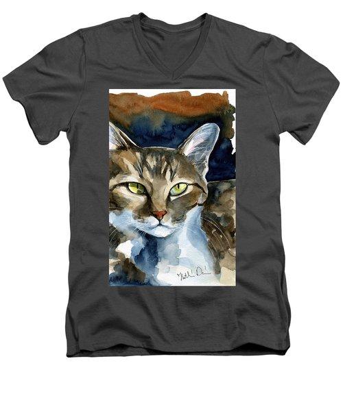 Mesmerizing Eyes - Tabby Cat Painting Men's V-Neck T-Shirt