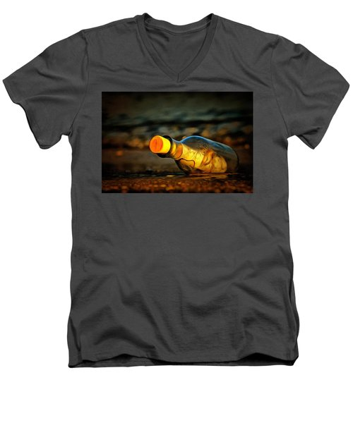Men's V-Neck T-Shirt featuring the painting Message In A Bottle by Harry Warrick