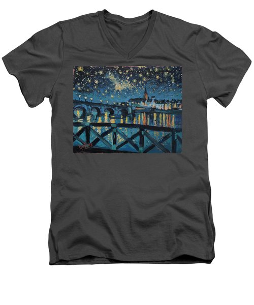 Mestreechter Staarenach Staryy Night Maastricht Men's V-Neck T-Shirt by Nop Briex