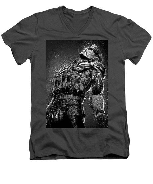 Men's V-Neck T-Shirt featuring the digital art Metal Gear Solid by Taylan Apukovska