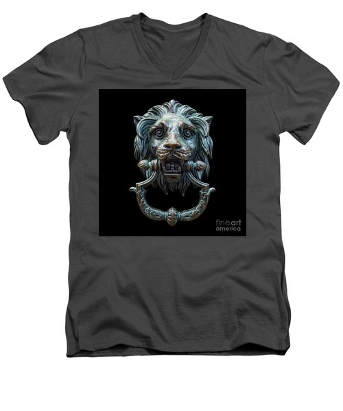 Men's V-Neck T-Shirt featuring the photograph Metal Lion Head Doorknocker Isolated Black by Antony McAulay
