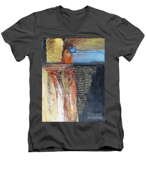 Metallic Fall With Blue Men's V-Neck T-Shirt