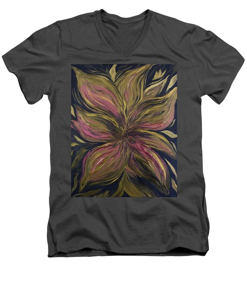 Metallic Flower Men's V-Neck T-Shirt