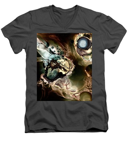 Men's V-Neck T-Shirt featuring the painting Metallic Nebula by Patricia Lintner