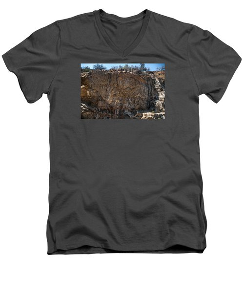 Metamorphic Geologic Wall In Kings Canyon Giant Sequoia National Monument Sequoia National Forest Men's V-Neck T-Shirt