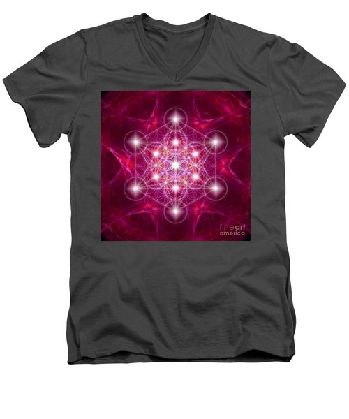 Metatron Cube With Flower Men's V-Neck T-Shirt