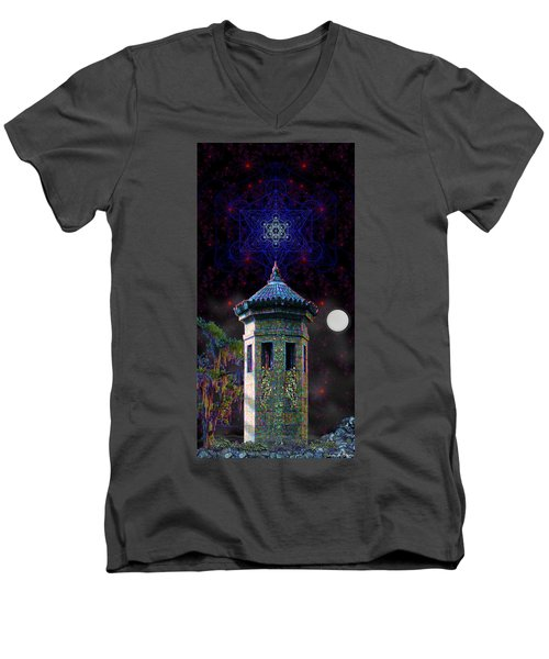 Metatron Nocturnal Men's V-Neck T-Shirt by Iowan Stone-Flowers