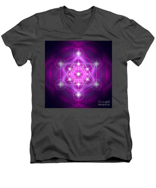 Metatron's Cube Purple Men's V-Neck T-Shirt