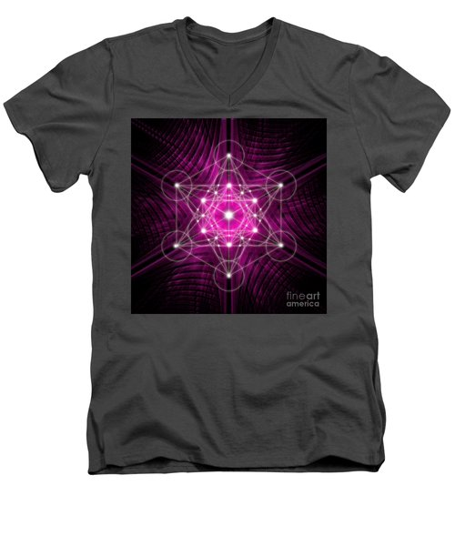 Metatron's Cube Waves Men's V-Neck T-Shirt